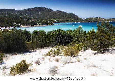 italy sardinia pevero bay esmerald cost in summer wight sand - stock photo
