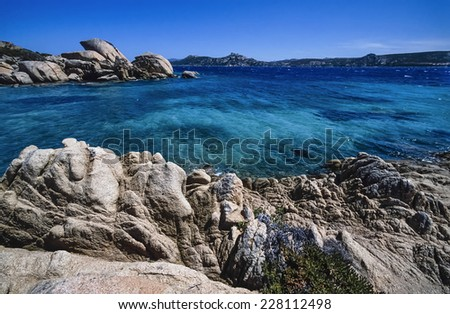 Italy, Sardinia, St. Stefano Island (Maddalena), eroded rocks - FILM SCAN - stock photo