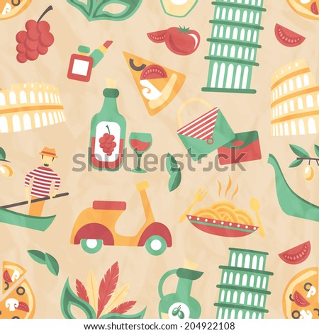 Italy seamless pattern with wine glass gondola olive oil  illustration - stock photo