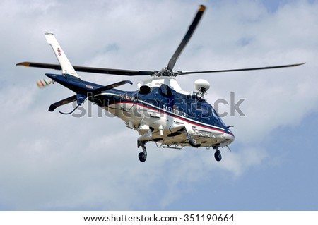 ITALY - SEPTEMBER 16, 2012: Helicopter police and weapon of the Italian state. Helicopter of the Carabinieri.