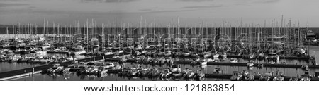 Italy, Siciliy, Mediterranean sea, Marina di Ragusa, panoramic view of luxury yachts in the marina