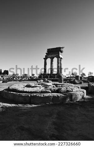 Italy, Sicily, Agrigento, Greek Temples Valley, Castore and Polluce Temple (Hera Temple) - stock photo