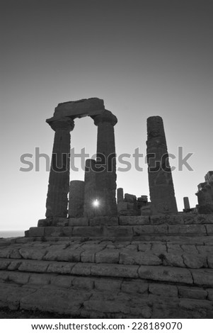 Italy, Sicily, Agrigento, Greek Temples Valley, Juno Temple (480-420 b.C.) at sunset - stock photo