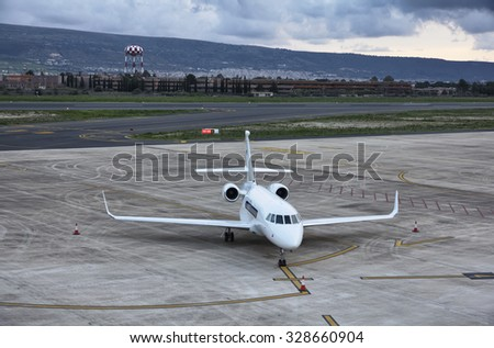 Italy, Sicily, Comiso Airport (Ragusa Province); 17 january 2014, executive jet - EDITORIAL - stock photo