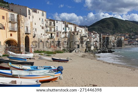 Italy. Sicily island . Province of Palermo. View of Cefalu in spring - stock photo