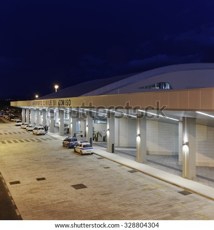 Italy, Sicily; 17 january 2014, Comiso Airport entrance at night - EDITORIAL