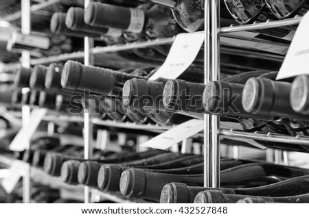 Italy, Sicily; 28 July 2011, wine bottles in a wine cellar - EDITORIAL