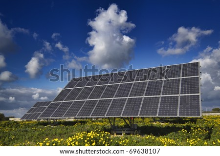 Italy, Sicily, Marina di Ragusa, countryside, solar panels - stock photo