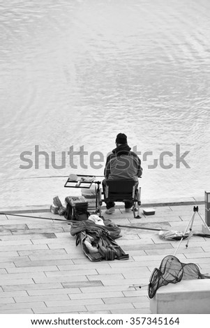 Italy, Sicily, Marina di Ragusa; 02 January 2016, fisherman in the port - EDITORIAL
