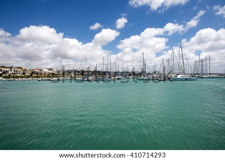 Italy, Sicily, Mediterranean sea, Marina di Ragusa; 24 April 2016, luxury yachts in the marina - Editorial Use only