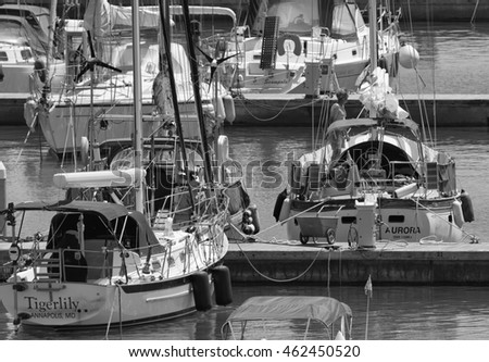 Italy, Sicily, Mediterranean sea, Marina di Ragusa; 2 August 2016, luxury yachts in the port - EDITORIAL