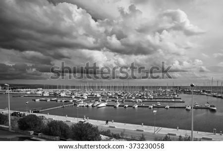 Italy, Sicily, Mediterranean sea, Marina di Ragusa, boats and luxury yachts in the marina - stock photo
