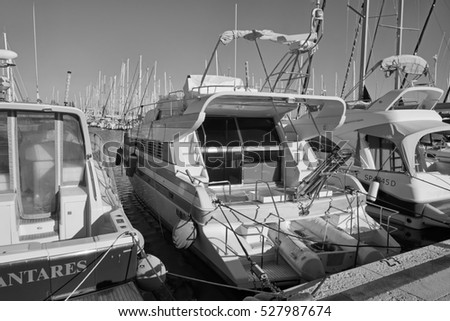 Italy, Sicily, Mediterranean sea, Marina di Ragusa; 1 December 2016, luxury yachts in the port - EDITORIAL