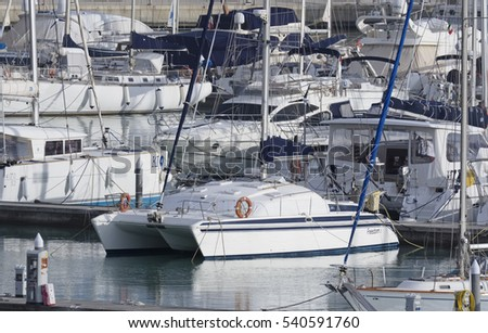 Italy, Sicily, Mediterranean sea, Marina di Ragusa; 21 December 2016, luxury yachts in the port - EDITORIAL