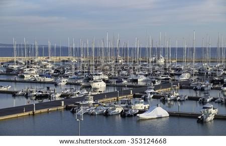 Italy, Sicily, Mediterranean sea, Marina di Ragusa; 19 December 2015, view of luxury yachts in the marina - EDITORIAL - stock photo
