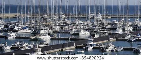 Italy, Sicily, Mediterranean sea, Marina di Ragusa; 24 December 2015, view of luxury yachts in the marina - EDITORIAL - stock photo