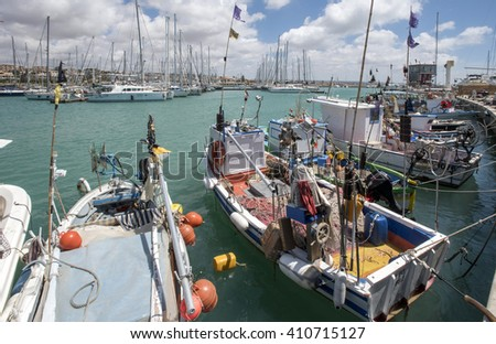 Italy, Sicily, Mediterranean sea, Marina di Ragusa; fisherman boats in the marina - Editorial Use Only