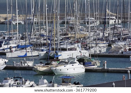 Italy, Sicily, Mediterranean sea, Marina di Ragusa; 12 January 2016, view of luxury yachts in the marina - EDITORIAL - stock photo