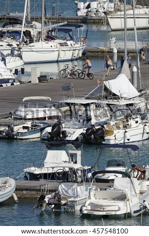 Italy, Sicily, Mediterranean sea, Marina di Ragusa; 24 July 2016, boats and luxury yachts in the port - EDITORIAL