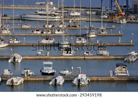 Italy, Sicily, Mediterranean sea, Marina di Ragusa; 4 july 2015, luxury yachts in the marina - EDITORIAL - stock photo
