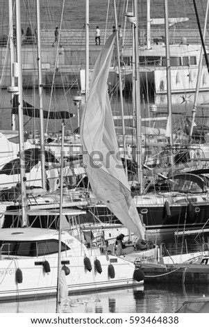 Italy, Sicily, Mediterranean sea, Marina di Ragusa; 5 March 2017, luxury yachts in the port - EDITORIAL