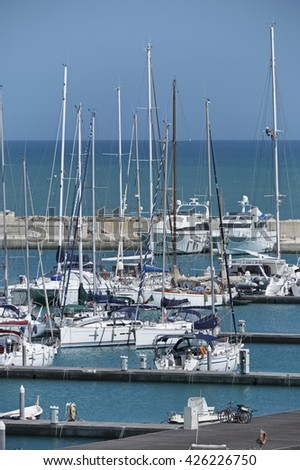Italy, Sicily, Mediterranean sea, Marina di Ragusa; 24 May 2016, boats and luxury yachts in the port - EDITORIAL