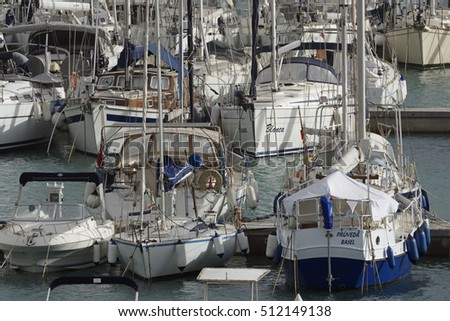 Italy, Sicily, Mediterranean sea, Marina di Ragusa; 8 November 2016, boats and luxury yachts in the port - EDITORIAL