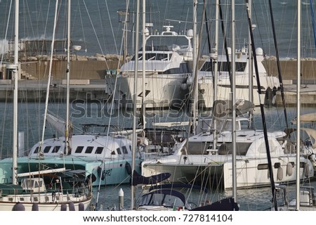 Italy, Sicily, Mediterranean sea, Marina di Ragusa; 4 October 2017, luxury yachts in the port - EDITORIAL