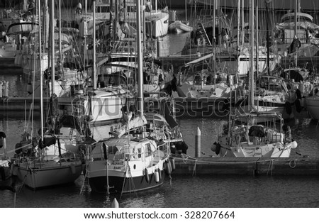 Italy, Sicily, Mediterranean sea, Marina di Ragusa; 16 october 2015, view of luxury yachts in the marina - EDITORIAL