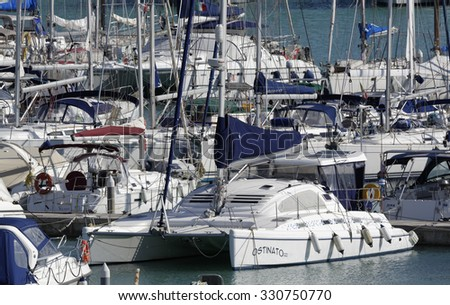 Italy, Sicily, Mediterranean sea, Marina di Ragusa; 23 october 2015, view of luxury yachts in the marina - EDITORIAL