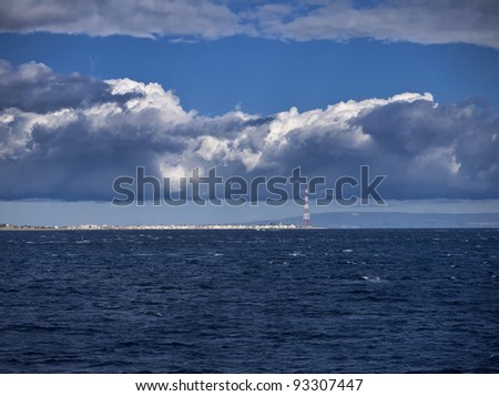 Italy, Sicily, Messina, view of the town from the Sicily Channel - stock photo