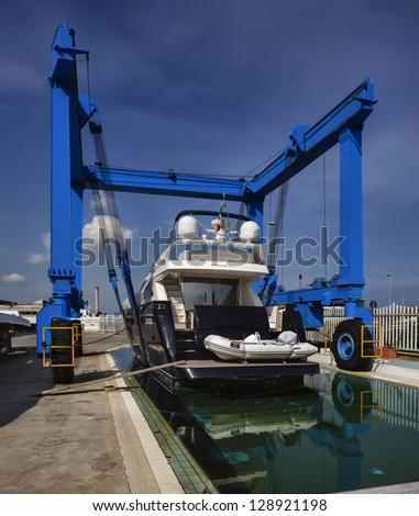 Italy, Sicily, Milazzo, ABACUS Boatyard, luxury yacht under construction