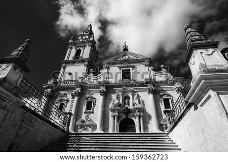 Italy, Sicily, Ragusa, view of the baroque St. John Cathedral facade (1751 a.C.)