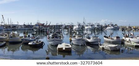 Italy, Sicily, Scoglitti (Ragusa Province); 12 october 2015, sicilian wooden fishing boats in the port- EDITORIAL - stock photo