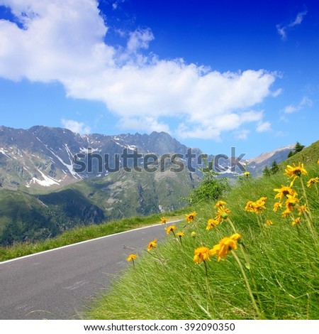 Italy, Stelvio National Park. Famous road to Gavia Pass in Ortler Alps. Alpine landscape. - stock photo