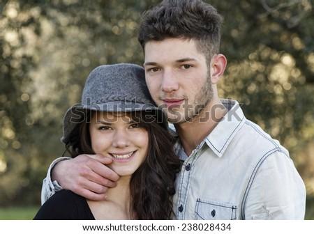Italy, teenagers portrait - stock photo