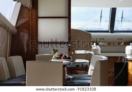 Italy, Tuscany, Elba Island, luxury yacht Azimut 75', dinette and dining table