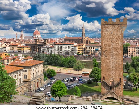 Italy, Tuscany, Florence. View of the city. In the foreground is Piazza Giuseppe Poggi and tower of San Niccolo - stock photo
