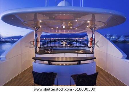 Italy, Tuscany, Viareggio; 12 September 2005, luxury yacht (20 meters), view of the flybridge at sunset - EDITORIAL