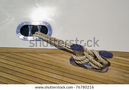 Italy, Tuscany, Viareggio, Tecnomar Nadara 88' Fly luxury yacht, bow, steel bollard - stock photo