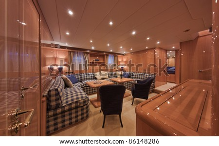 Italy, Tuscany, Viareggio, Tecnomar Velvet 83' luxury yacht, lower level dinette