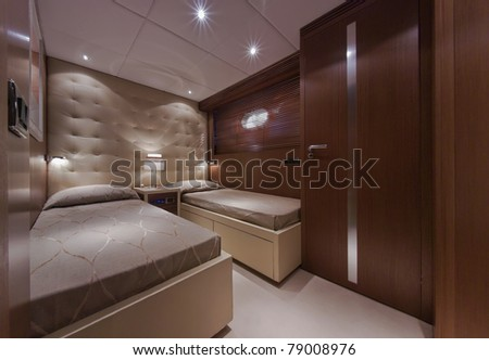 Italy, Tuscany, Viareggio, Tecnomar Velvet 83' luxury yacht, second guests bedroom