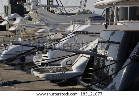 Italy, Tuscany, Viareggio: 13th June 2006, view of luxury yachts in the marina - EDITORIAL