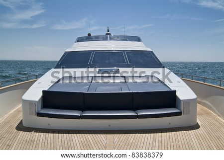 Italy, Tyrrhenian Sea, off the cast of Viareggio (Tuscany), Tecnomar 35 luxury yacht - stock photo