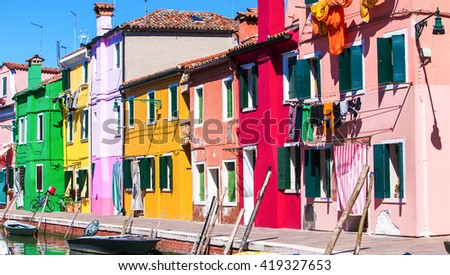 Italy, Venice Burano island with traditional colorful houses
