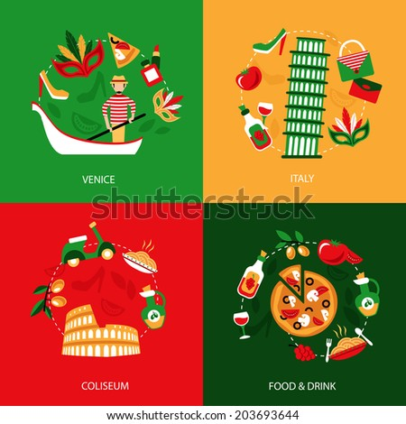 Italy venice coliseum food and drink decorative elements set isolated  illustration - stock photo