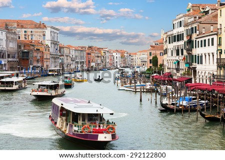 Italy. Venice. Grand Canal and vaporetto sea tram in the foreground - stock photo
