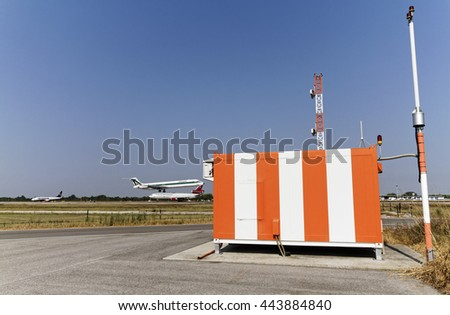 ITALY, Venice International Airport; 14 September 2011, flight control sensors and an airplane landing - EDITORIAL