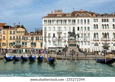 ITALY, VENICE - November 20: view of the Hotel Londra Palace and the  promenade on November 20, 2014 in Venice. this romantic hotel overlooks the Venetian Lagoon has 53 guestrooms - stock photo