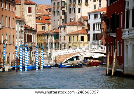 Italy, Venice. Ponte delle Guglie (1823) is the western bridge on the Cannaregio as seen from the Grand Canal. It leads from Santa Lucia railway station to the Venetian Ghetto and Strada Nova.
